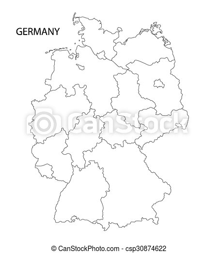 Outline germany map all federal states on separate layers vector