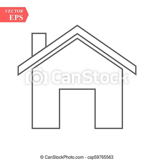 Outline Home Icon isolated on grey background. House pictogram. Line Homepage symbol for your web site design, logo, app, UI. Editable stroke. Vector illustration, Eps10 - csp59765563