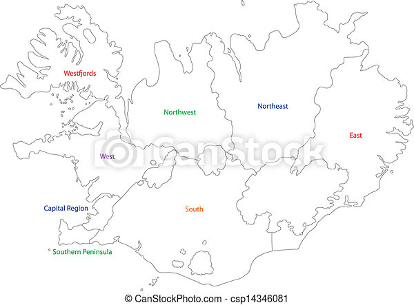Outline iceland map. Map of administrative divisions of republic of ...