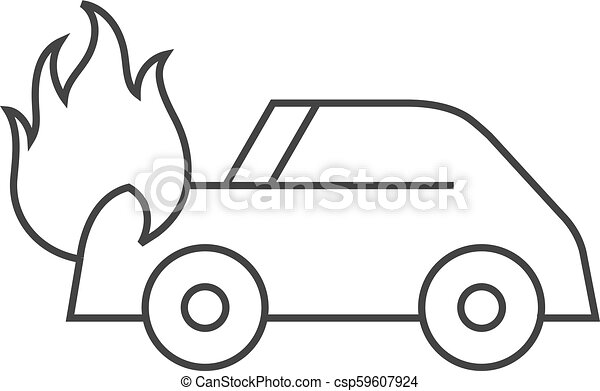 Outline Icon Car On Fire Car On Fire Icon In Thin Outline Style