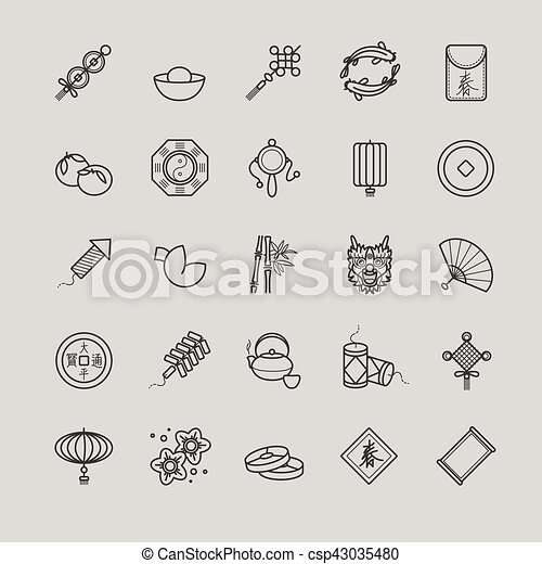 Outline Icons Chinese New Year Traditional Symbols Decorations
