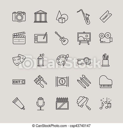 Outline icons set - art, entertament, drawning tools - csp43740147