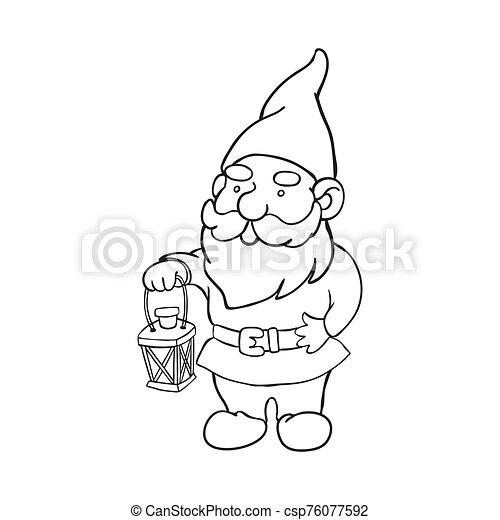 Colorable Garden Gnome - Free Clip Art