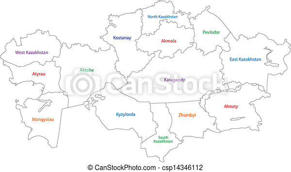 Outline kazakhstan map Administrative division of the vector