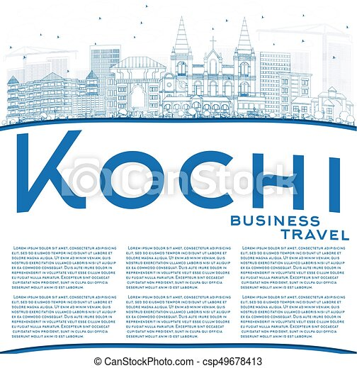 Outline Kochi Skyline With Blue Buildings And Copy Space Vector Illustration Business Travel Tourism Concept Historic Architecture Image For