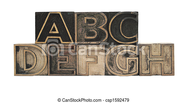 outline letters in wood A-H - csp1592479
