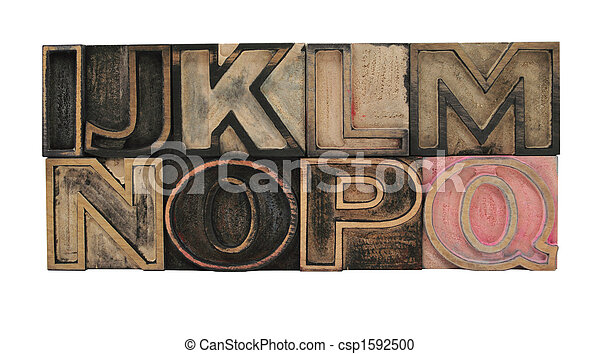 outline letters in wood I-Q - csp1592500