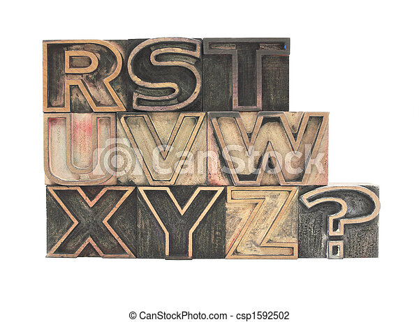 outline letters in wood R-Z - csp1592502