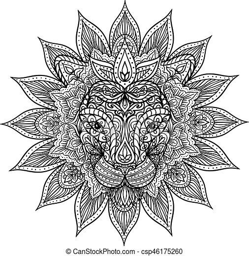 Outline Lion Mandala Hand Drawn Mandala With Outline Lion