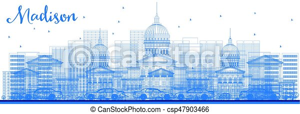 Outline Madison Skyline with Blue Buildings. - csp47903466