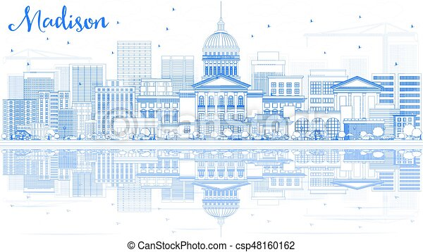 Outline Madison Skyline with Blue Buildings and Reflections. - csp48160162