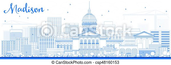 Outline Madison Skyline with Blue Buildings. - csp48160153
