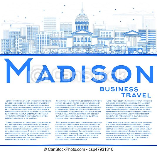 Outline Madison Skyline with Blue Buildings and Copy Space. - csp47931310