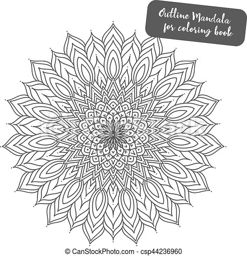 Outline Mandala For Coloring Book Decorative Round Ornament Anti Stress Therapy Pattern Weave Design Element Yoga Logo Background Meditation