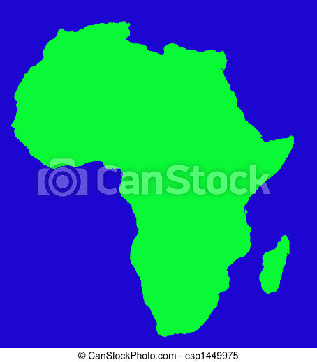 Outline map of africa continent in green, isolated on blue background.