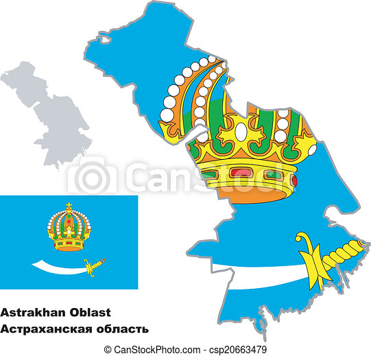 Outline map of astrakhan oblast with flag regions of vectors