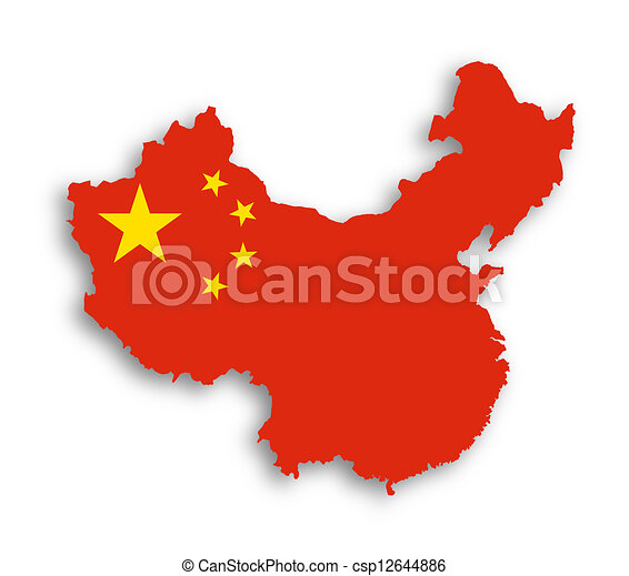 Outline map of china covered in chinese flag.
