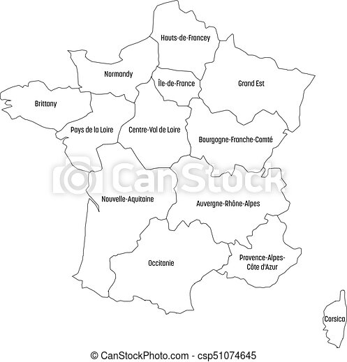 Outline Of Map Of France.Outline Map Of France Divided Into 13 Administrative Metropolitan Regions Since 2016 Four Shades Of Green Vector Illustration