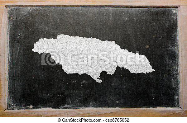 Outline map of jamaica on blackboard . Drawing of jamaica on ...