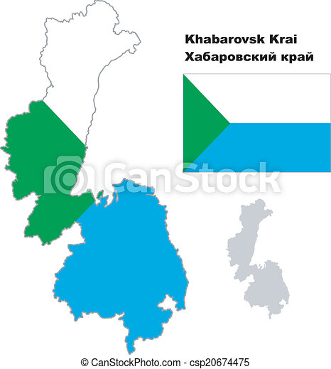Outline map of khabarovsk krai with flag regions of russia