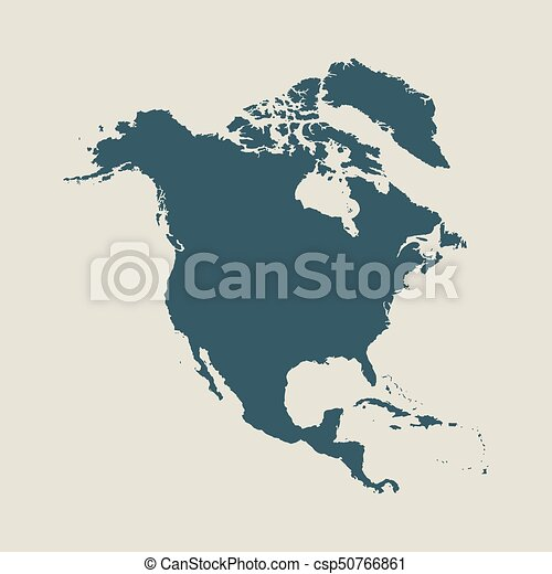 Outline map of North America Isolated vector illustration clip