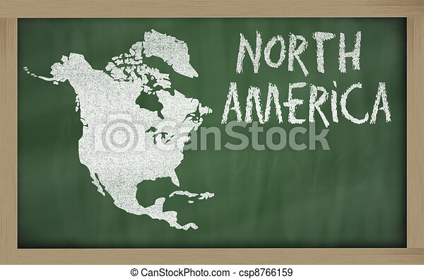 outline map of north america on blackboard  - csp8766159