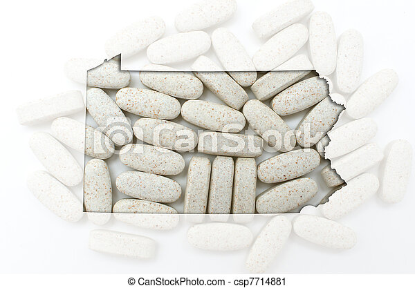 Outline Map Of Pennsylvania With Transparent Pills In The Backgr Outlined Pennsylvania With Transparent Background Of