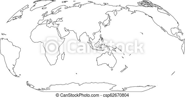 Simple Map Of Asia And Australia.Outline Map Of World Asia And Australia Centered Simple Flat Vector Illustration