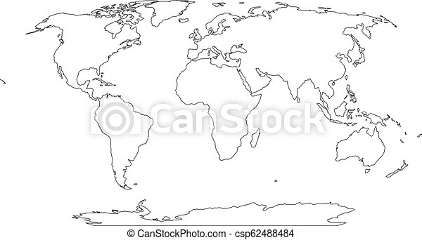 Map Of The World Simple.Outline Map Of World Simple Flat Vector Illustration
