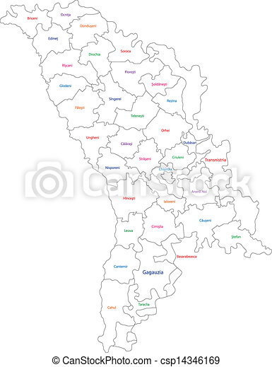 Outline moldova map Administrative division of the republic clip