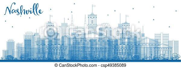Outline Nashville Skyline with Blue Buildings. - csp49385089