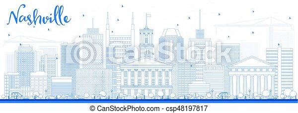 Outline Nashville Skyline with Blue Buildings. - csp48197817