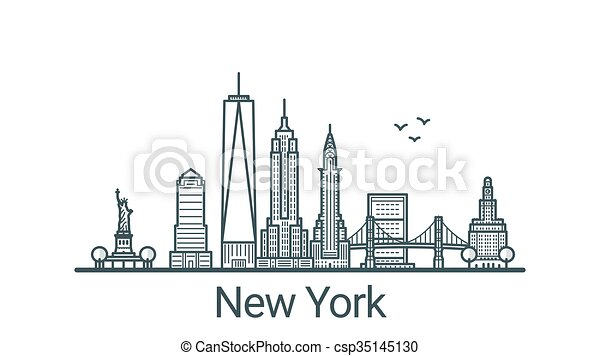 Outline New York Banner Linear Banner Of New York City All Buildings Customizable Different Objects With Background Fill