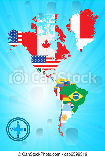 Outline north and sud american map - csp6599319