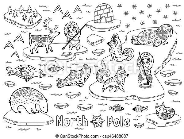 Outline north pole animals eskimos