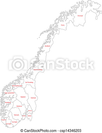 Outline norway map Administrative division of the kingdom vector