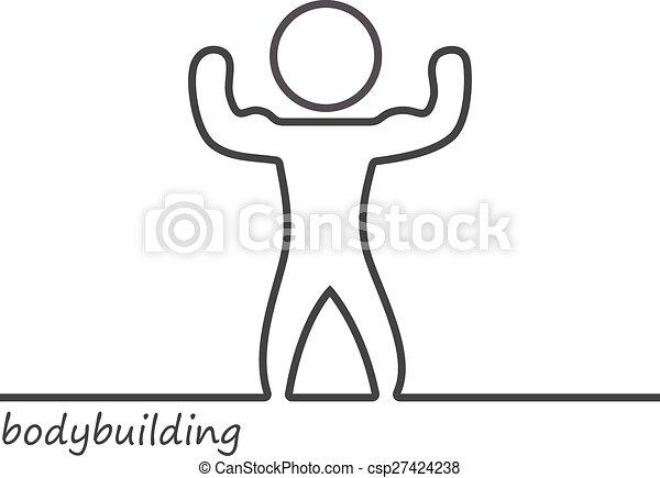 Outline of a shape bodybuilder - csp27424238