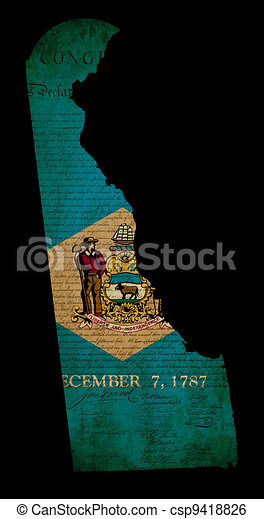 Outline of American USA Delaware state with grunge effect flag insert and overlay of Declaration of Independence document - csp9418826
