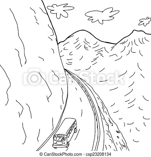 Outline of bus on mountain road. Outline cartoon drawing of school ...