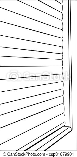 Outline Of Closed Window Blinds Illustration Of Window With Closed