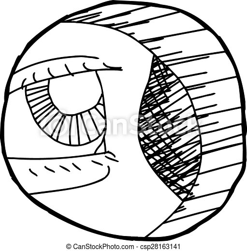 outline of eye in hole hand drawn outline cartoon of eye close up rh canstockphoto com