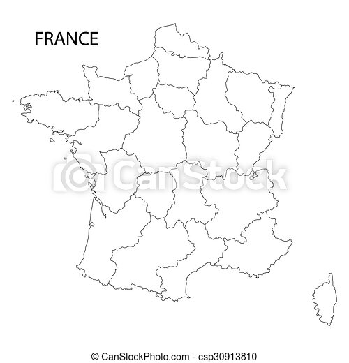 Outline Of France Map All Regions On Separate Layers
