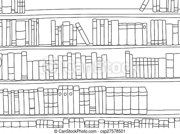 Outline Of Large Shelf With Books Outline Of Large Book