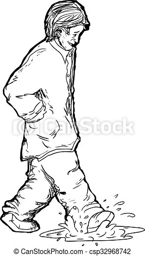 outline of man stepping in puddle outline drawing of man stepping