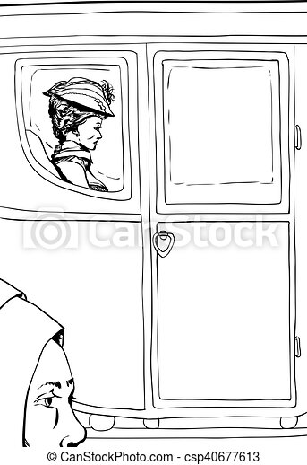 Outline of peasant near rich woman in fancy carriage - csp40677613
