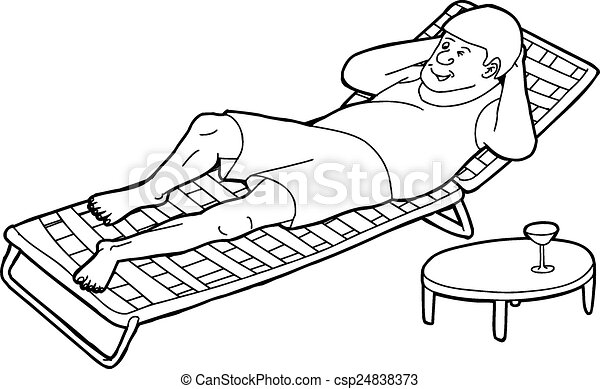 outline of winking man on chair outline cartoon of winking man