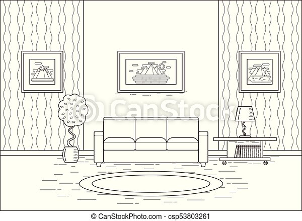 Outline Room Interior In Flat Design Vector Illustration