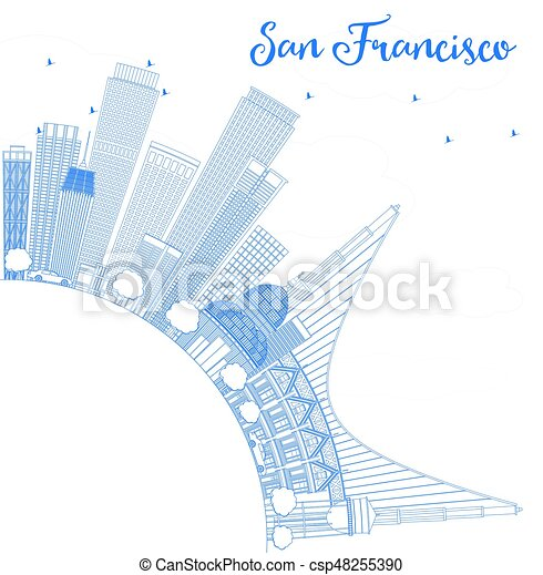 Outline San Francisco Skyline with Blue Buildings. - csp48255390