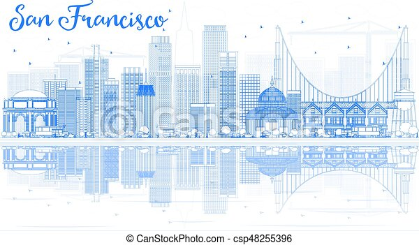 Outline San Francisco Skyline with Blue Buildings and Reflection. - csp48255396