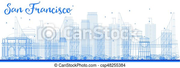 Outline San Francisco Skyline with Blue Buildings. - csp48255384
